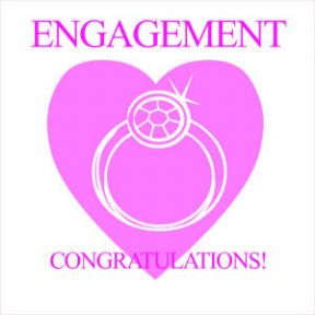 Engagement Greeting Card - Pink Diamond Ring